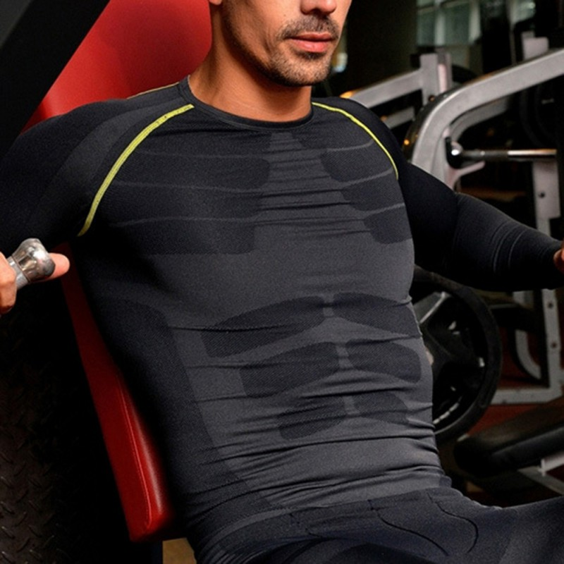 Outdoor Men Fitness Breathable Compression Base Layer Long Sleeve Sports Gear Shirts GYM Sports T-shirt Tops M-XL