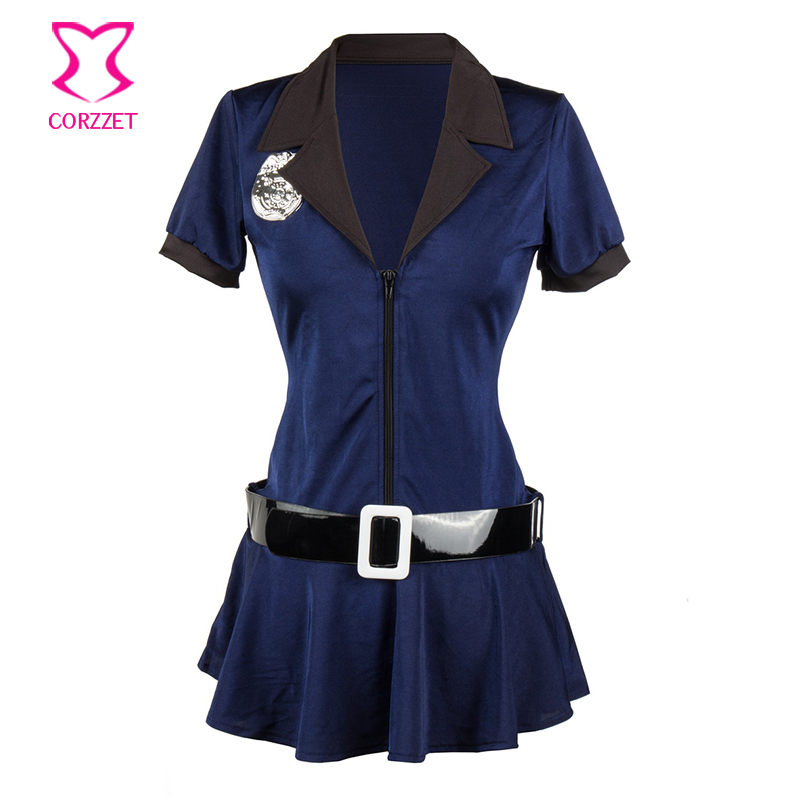 Blue Sexy Policewoman Costume Halloween Cosplay Cop Dress Outfit