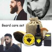 100% Natural Organic Beard Oil 30ml Beard Cream Balm Brush Comb Men Moustache Cream Moisturizing Wax Male Beard Care Set Health & Beauty