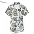 Printed Flowers Thin Cool Summer Short Sleeve Men's Floral Dress Shirt Slim Fit Plus Size 5xl 6xl Mercerized Cotton For Men S089