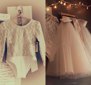 Two Pieces Infant Toddler Flower Girls Dresses with Long Sleeves Lace Bodysuit Full Tutu Skirt Little Girls Birthday dress