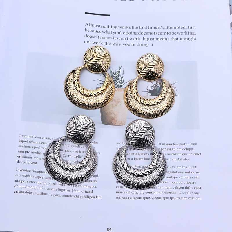 Fashion ZA Drop Earrings Women Gold Color Maxi Statement Earrings Wedding Party Jewelry Round Geometric Vintage Brinco