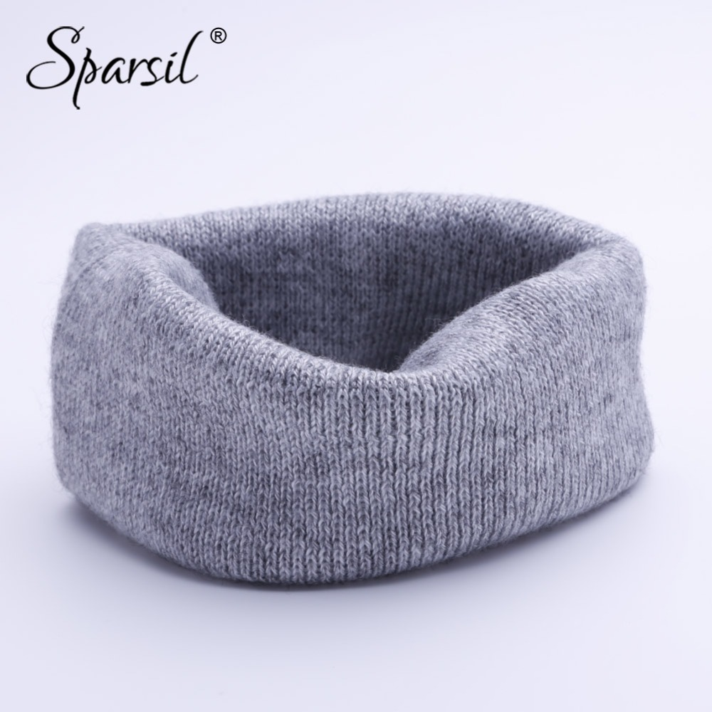 Sparsil Unisex Cashmere Knitted Ring Scarves Headband Super Elastic Double-Use Knit Mufflers Men Women Child Neck Wrap 20 Colors