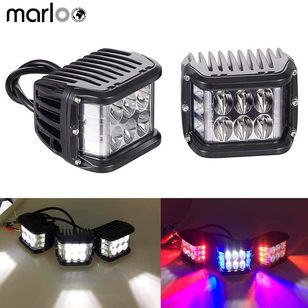 OVOTOR Side Shooter LED Pod Lights With Strobe Dual Side Red DRL 4inch Off Road Flood Spot Driving Work Lights for Jeep Truck ATV SUV UTV 4x4