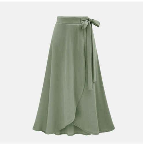 נשים אלסטי מותניים מוצק קפלים בציר אונליין Loose ארוך חצאית נדנדה