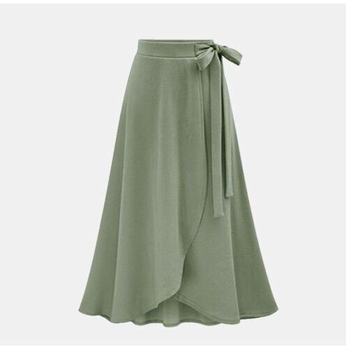 Women Elastic Waist Solid Pleated  Vintage A-line Loose Long Skirt Swing