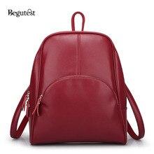 Begutest корейский стиль Рюкзак Женщины Простые однотонные сумка повседневная сумка женская рюкзак стиль Школьный рюкзаки для девочек