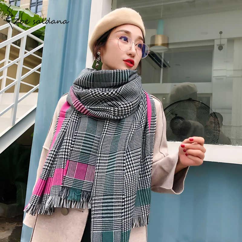 Zoe Saldana 2019 Contrast Color Cashmere Warm Scarf Winter Fashion  Houndstooth Shawl Long Scarf for Women f78ea05694d