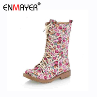 ENMAYER Autumn Winter Keep Warm Canvas Boots Cow Muscle Women S Fashion Printed Flowers Boots Vintage