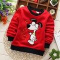 2015 Outono Inverno Crianças Meninos camiseta de Manga Longa Bordado Cão Dos Desenhos Animados do Velo Moda Crianças T-shirt Meninos Roupas Top Tees