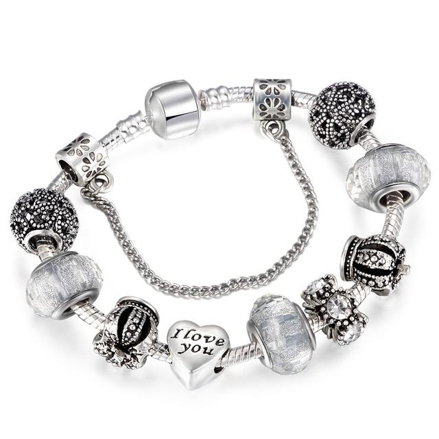 d25fe100a Dropshipping Vintage Royal Crown Crystal Love Charm Bracelet Women Snake  Chain Pandora Bracelets Female For Girl