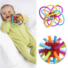 2017 Safety Silicone Biting Teething Teether Balls Ring Fun Rattle Toys For Baby