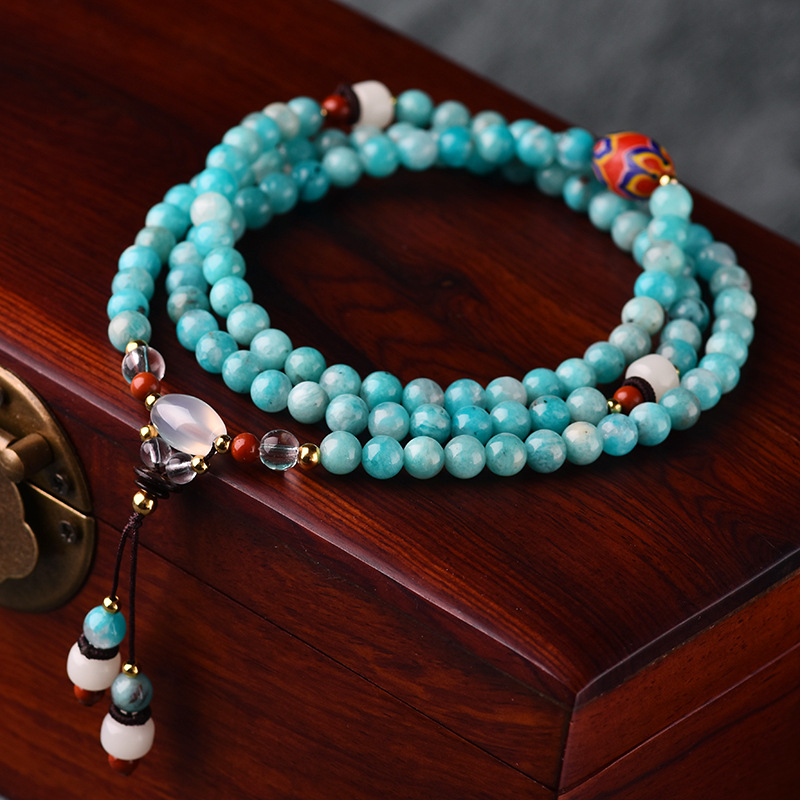 BOEYCJR 108 perles en pierre naturelle Bracelets et Bracelets faits à la main bijoux ethniques bouddha perles énergie Yoga Bracelet pour femmes 2019