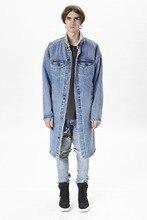 2016 Europe street blue Jacket men clothes  stylish long coat clothing fleece winter denim jackets jean jacket Warm coat
