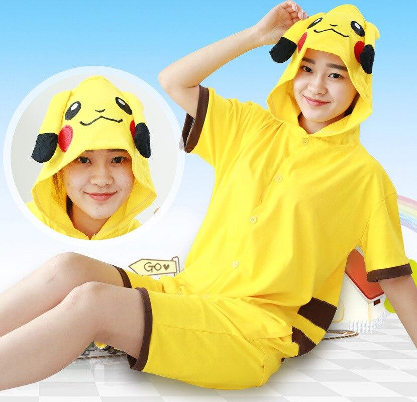 Pokemon Pikachu pajamas Cosplay Summer new cartoon one-piece pajamas Pikachu cotton short-sleeved couple men and women suit