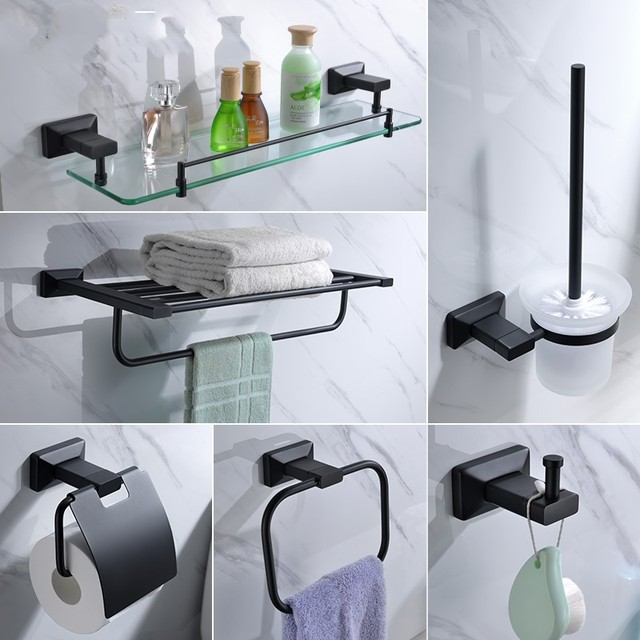Newest Matte Black Br 6 Piece Bathroom Hardware Accessory Set Shelf Towel Rack Robe Hook
