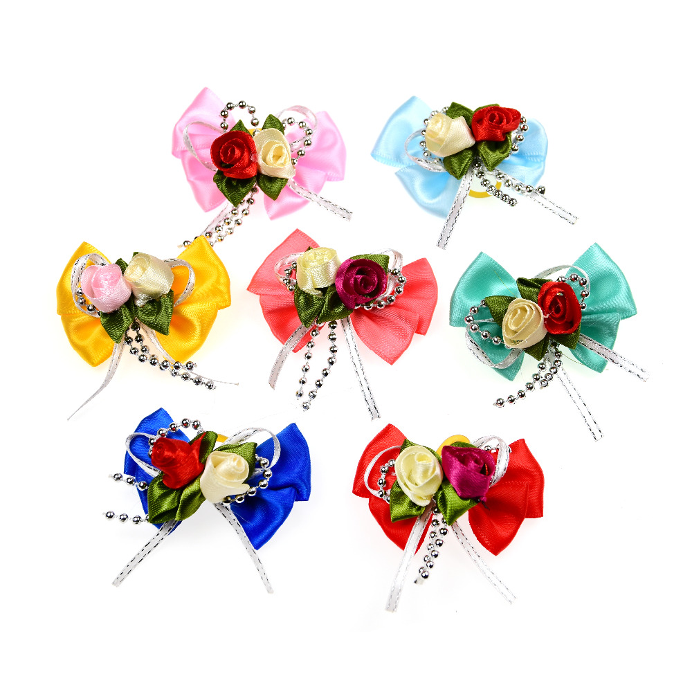 100pcs Pet Hair Remover Topknot Bows Pet Hair Rubber Bands Patterns Large Bowknot Dog Hair Accessories Pet Grooming Products
