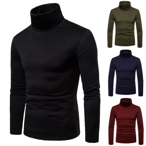 Mens Sweater Pullover Jumper Knitted Turtle-Neck Solid-Roll Male Casual Fashion Winter
