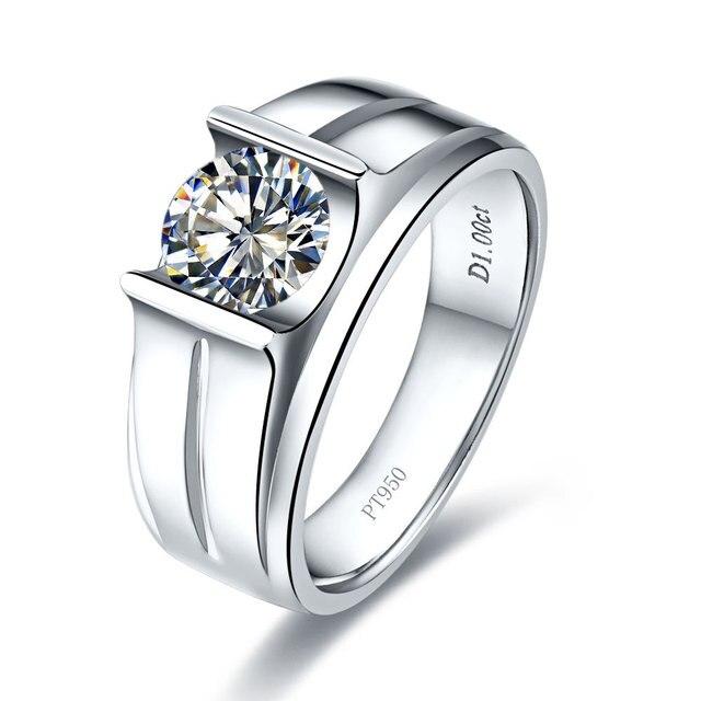 Real 14K White Gold Men Ring 1Ct Round Moissanite Diamond Male Ring