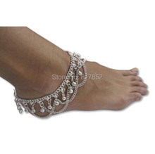 FREE SHIPPING 2014 Style L58 Women Fashion Silver Plated Chain Anklet Small Silver Bells Ankle Chains Jewelry