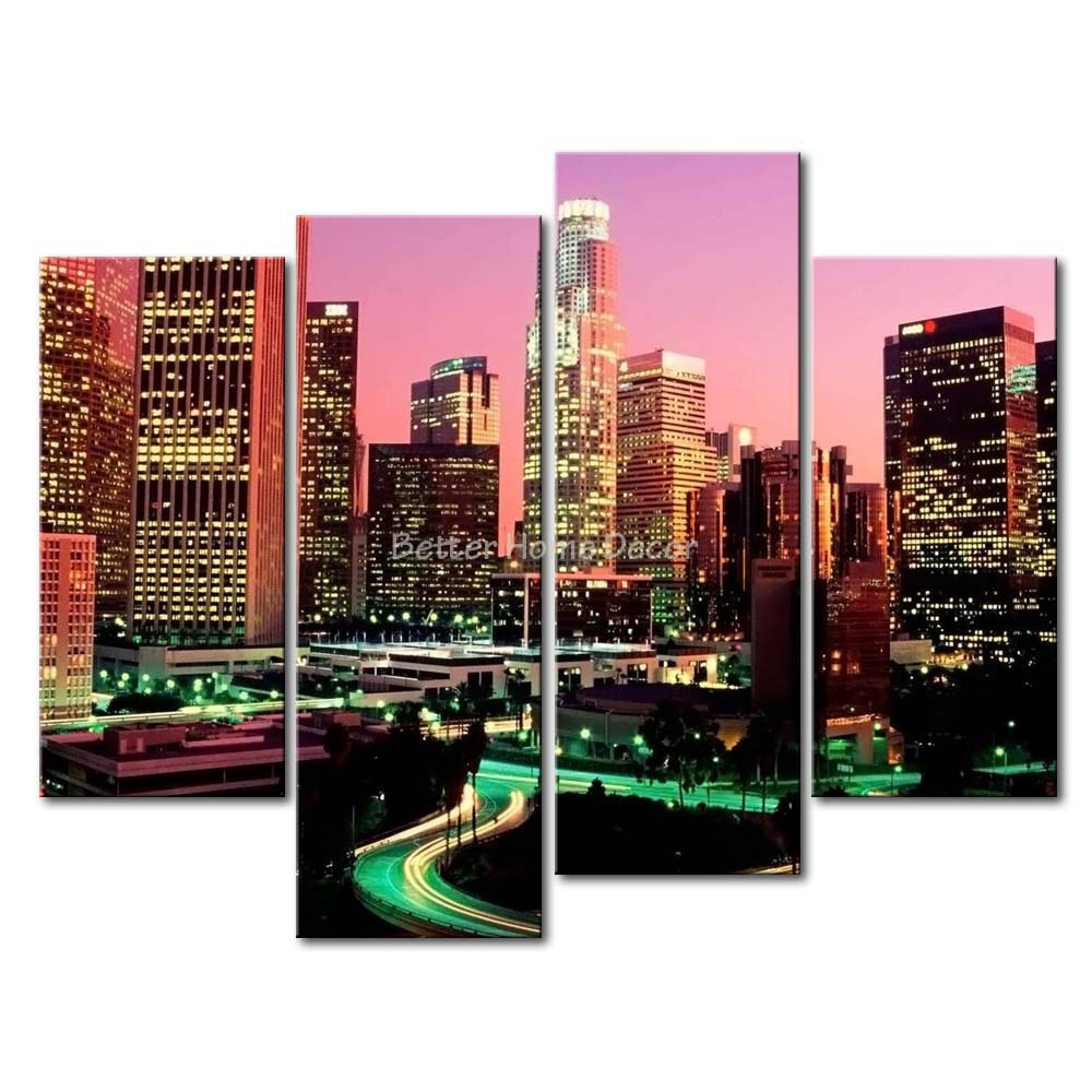 Los Angeles Wall Art 3 piece wall art painting los angeles with nice night scene print