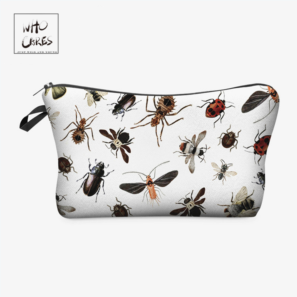 Who Cares Fashion Cosmetic Bag Insect 3D Printing Makeup Bags Cosmetics Pouchs For Travel Ladies Pouch Women Cosmetic Bag