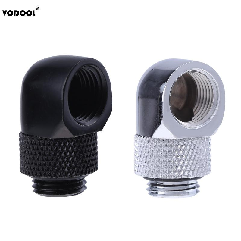 PC Water Cooling Tube Adapter G1/4 Inner Outer Dual Thread 90 Degree Rotary Water Tube Connector Adapter Black Silver 2 Colors bykski g1 4 90 degree rotary fitting extend 15 20 25 30 35 40mm water cooling adaptors color black silver b rd90 exj