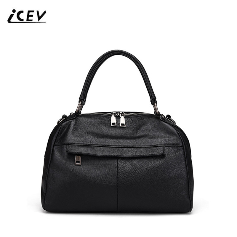 ICEV New European Fashion High Quality Genuine Leather Handbags Simple Bags Handbag Women Famous Brands Women Leather Handbags icev new korean fashion high quality simple genuine leather saddle crossbody bags for women messenger bags cow leather handbags