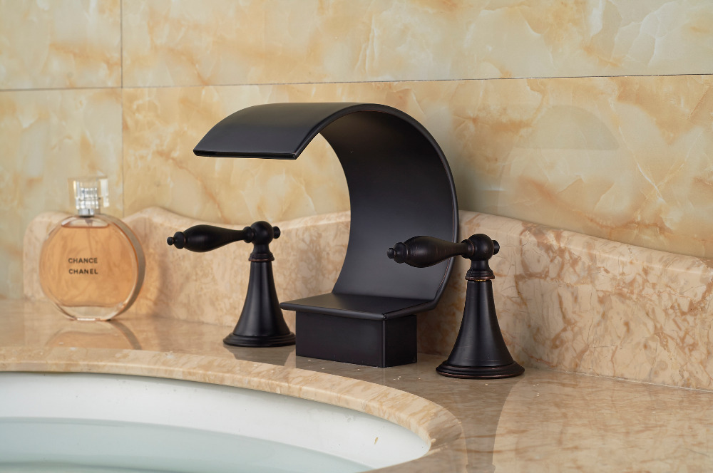 Modern Deck Mounted Oil Rubbed Bronze Waterfall Bathroom Basin Sink Faucet Mixer tap 3PCS modern countertop waterfall bathroom basin sink faucet filler oil rubbed bronze mixer taps
