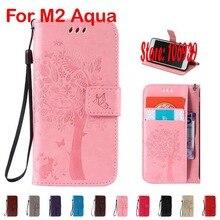 Дерево Cat бабочка PU кожаный бумажник девушка walet чехол для Sony Xperia M2 aqua D2303 D2305 двойной розовый коричневый серый фиолетовый