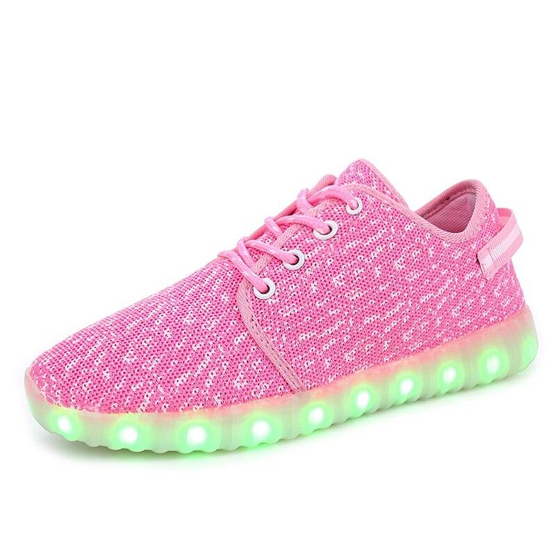 Մանկական կոշիկներ շնչող նորաձևության տղաներ և աղջիկներ սպորտային կոշիկներ 7 գունավոր LED լույսեր USB վերալիցքավորվող լյումինեսցենտ լուսավորությամբ