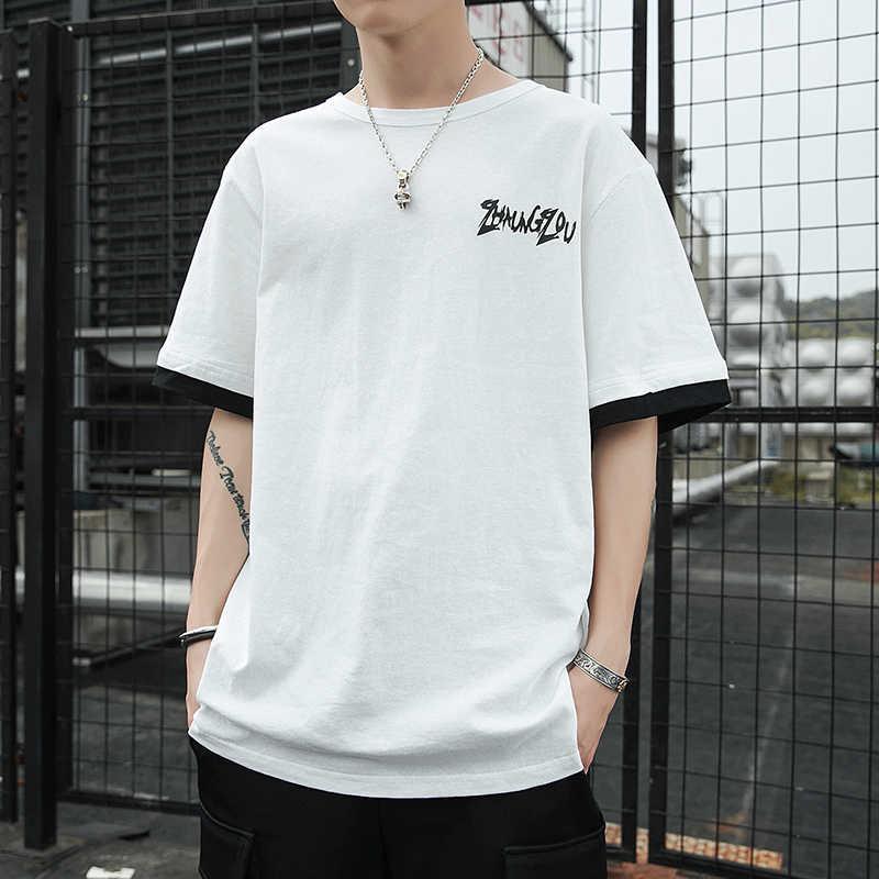 YASUGUOJI/Новинка 2019 года; летняя свободная футболка с коротким рукавом в японском стиле; мужские повседневные хлопковые футболки; модные футболки контрастного цвета с надписью; мужские футболки