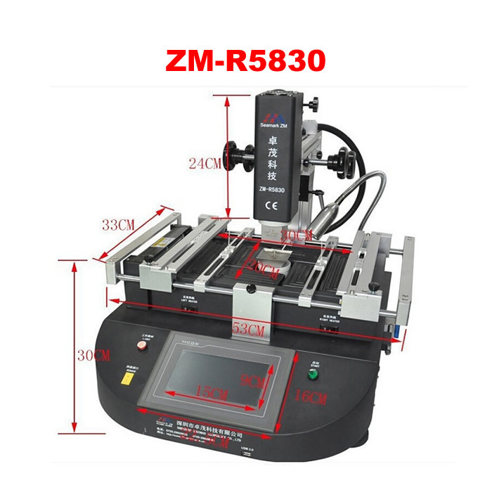 High quality ZHUOMAO ZM R5830 BGA rework station 3 temperature zones with touch screen control panel BGA repair machine bga rework machine ly 5830c hot air 3 zones for laptop motherboard chip repair 4500w zm r5830