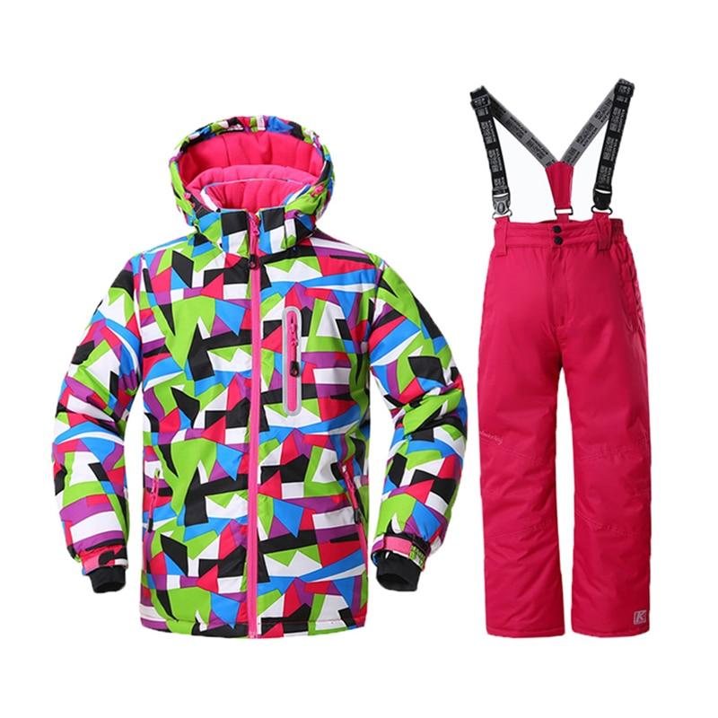 dfe0651a01db Russia Winter Kids Ski Suit Windproof Teenage Girls Fleece Jacket+ ...