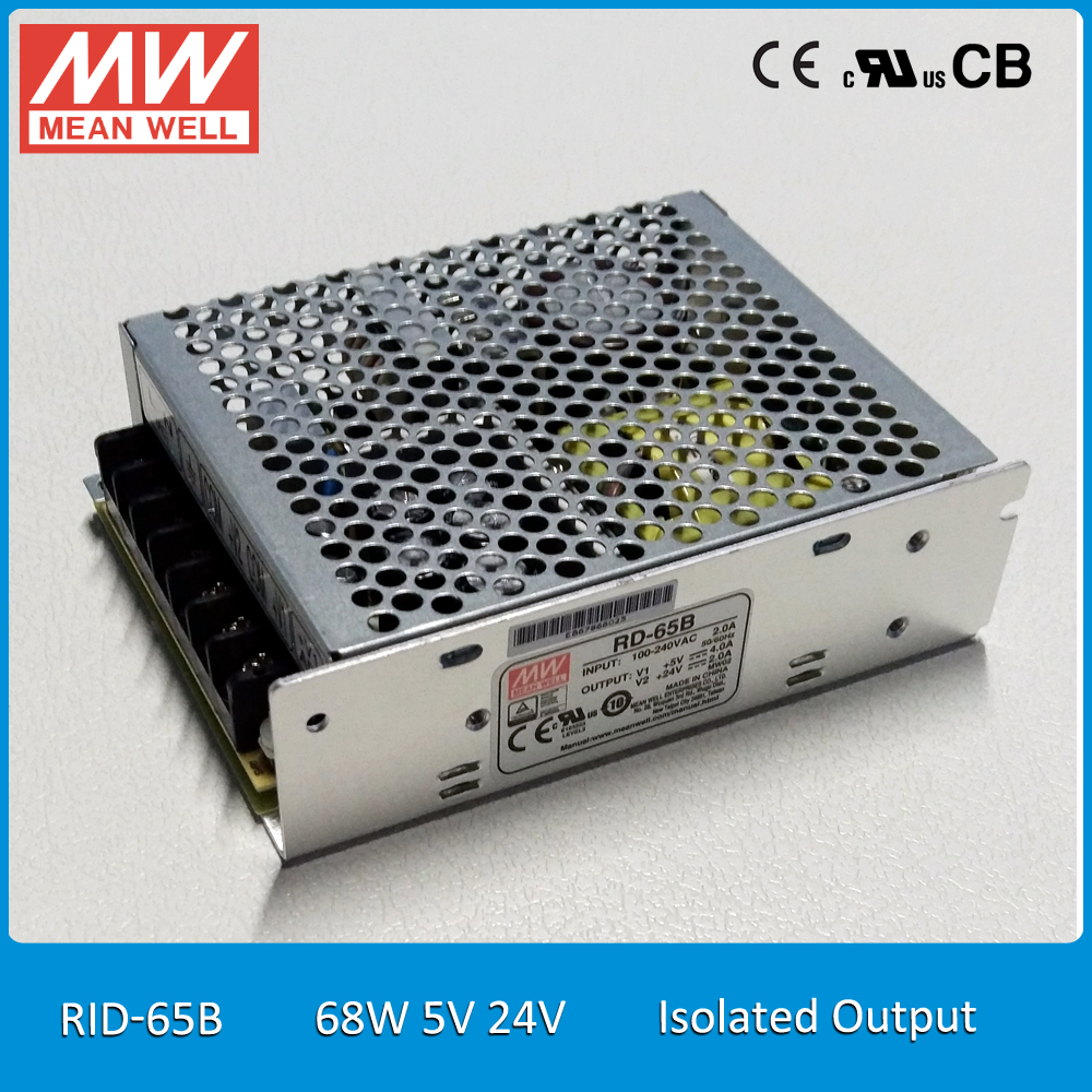 Original MEAN WELL RID 65B 68W 5V 24V Dual Isolated Output Meanwell Power Supply
