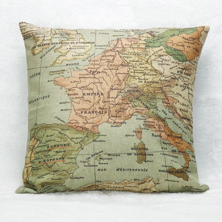 Бесплатная доставка лен/хлопок National Geographic Карта мира Чехлы 45x45 см Декоративны ...