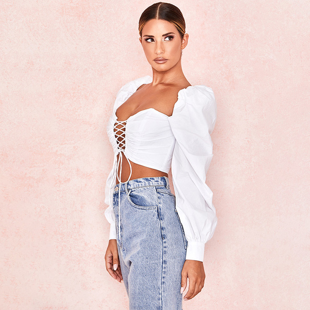 Evenworse 2019 women summer cotton bandage blouse big long slush lantern sleeve adjustable lace up strap crop top