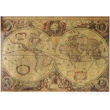 71x50cm globo Vintage Mapa del viejo mundo papel Marrón mate póster decoración de la pared del hogar #1