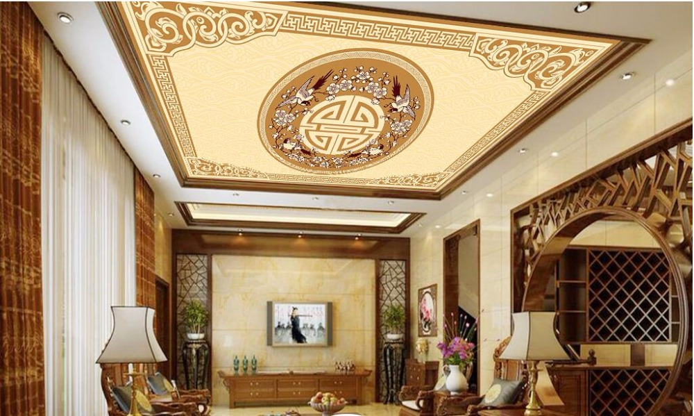 chinese style ceilings 3D Wall Mural Wallpaper yellow Ceiling Murals Living Room Sofa Bedroom Backdrop Wallpaper Painting in Wallpapers from Home Improvement