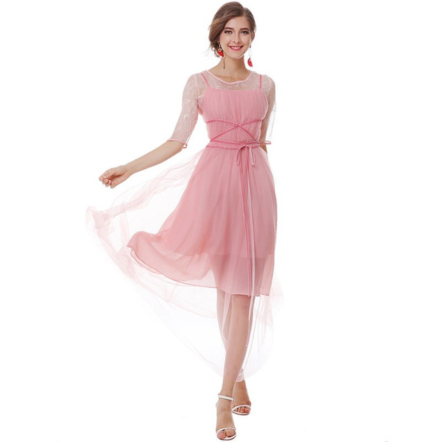 Ankle Length Pink Dress