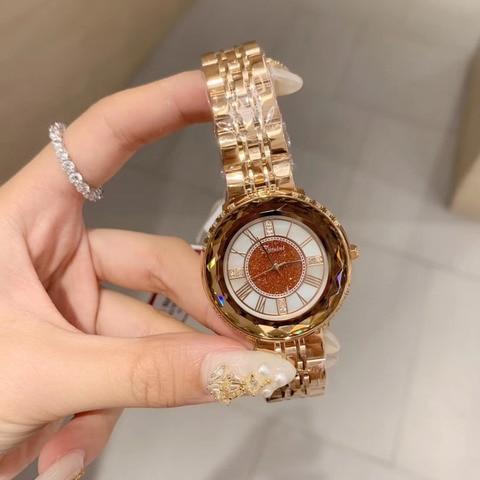 Pulseira de Aço Romano de Quartzo Relógio de Pulso à Prova Relógio de Vidro de Cristal Chegou Mulheres Marca Completa Relógios Número d' Água Multi Facetado New