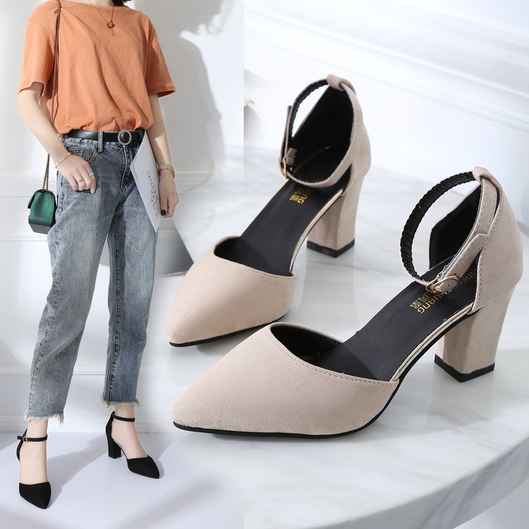 Fashion High Heels Korean Version Of The Wild Thick With Pointed Women's Shoes Comfortable High Heels Trend Sexy High Heels