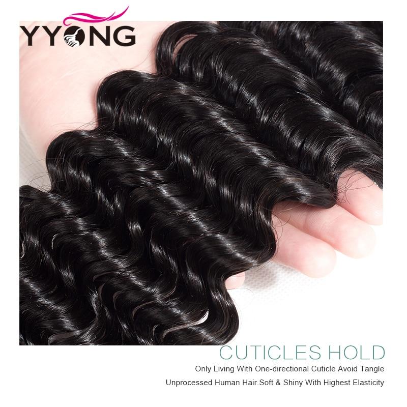 Yyong Hair Brazilian Deep Wave Human Hair 3 Bundles With 4*4 Free Part Lace Closure Deep Wave Bundle