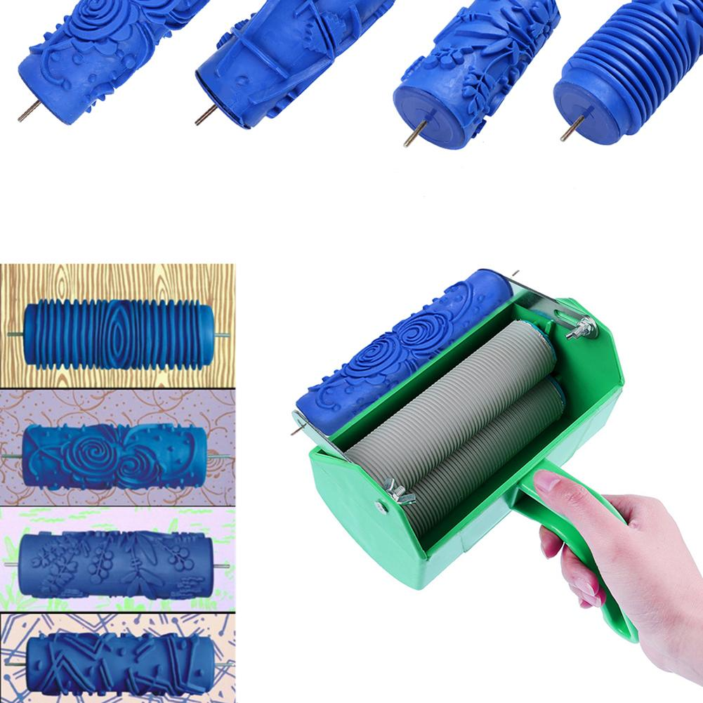 Soft Rubber Paint Roller Iron Pattern Painting Rollers Brush Wall Art Decoration Embossing Tool  DIY Paint Wall Roller Brush