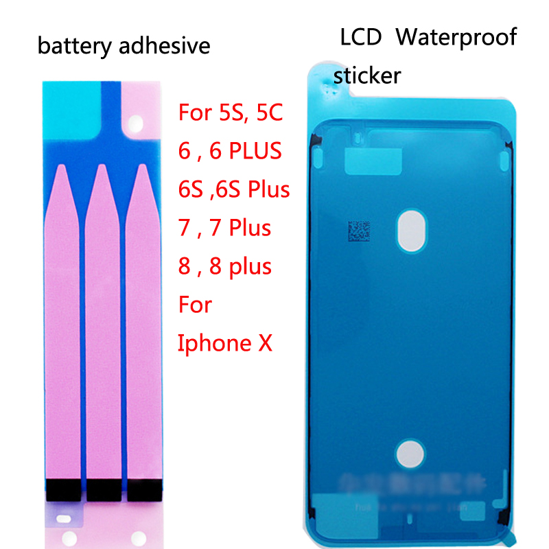 4pics Battery Adhesive Sticker For IPhone X 6 6s 7 8 Plus Battery Glue Tape + LCD Touch Screen Waterproof Sticker Sealant Screen
