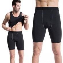 Pantalones Cortos de los hombres 2016 del Fanshion de Compresión Pantalones Cortos Casuales Homme Hombre Flaco Leggings Color Sólido de Secado rápido Bermudas