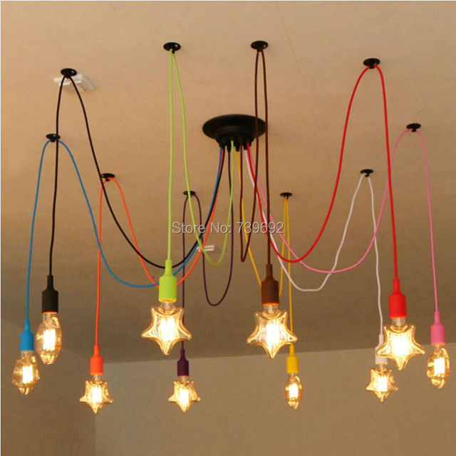 Rainbow Silicone Multi Arms LED Spider Edison Chandelier Lamp Modern Art Decoration Restaurant Bar Dining Hanging