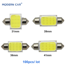 MODERN CAR 100pcs/lot Festoon COB Dome Lights C5W 31mm 36mm 39mm 41mm Chips LED Reading Interior Car Lamps for Auto White DC12V