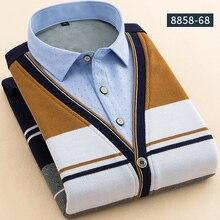 knit men sweater Winter warm men sweater turtleneck male high quality men shirts plus thick Fake two sweater casual shirt L-4XL