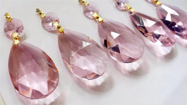 Lampadario Gocce Rosa : Mm rosa cristallo gocce d acqua mm octagon bead lampadario